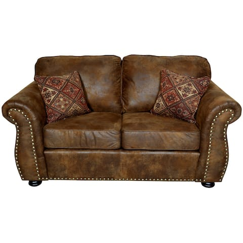 """Porter Elk River Brown Faux Leather & Microfiber Loveseat with Woven Accent Pillows - 36""""H x 36""""D x 66""""W"""