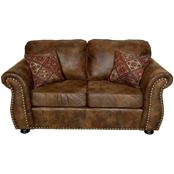 Brown Microfiber Throw Pillows : Porter Elk River Brown Faux Leather & Microfiber Loveseat with Woven Accent Pillows - Free ...