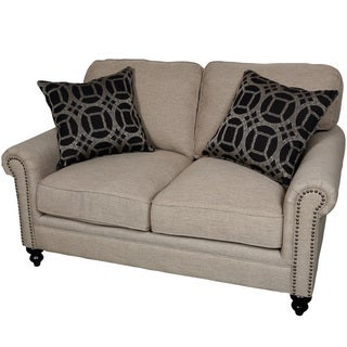 Porter Isabelle Colorado Cocoa Beige Loveseat with 2 Woven Accent Pillows