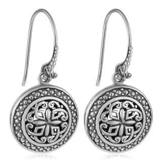 Handmade Sterling Silver Floral Rapture Dangle Earrings (Indonesia)