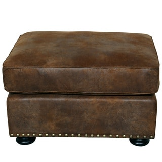 Porter Elk River Faux Leather and Microfiber Ottoman with Nailhead Trim
