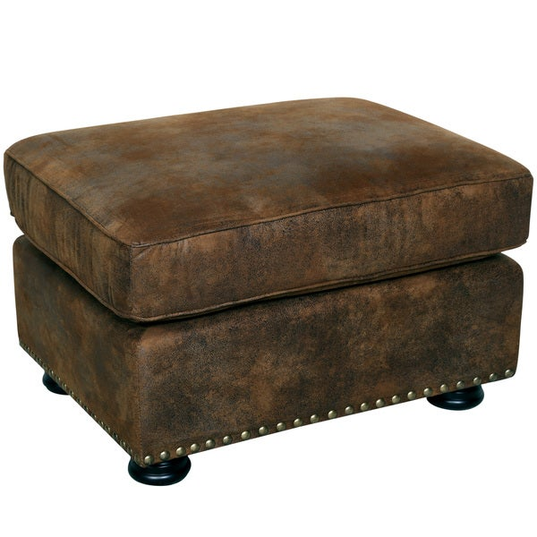 Porter elk river faux leather and microfiber ottoman with for Porte ottoman