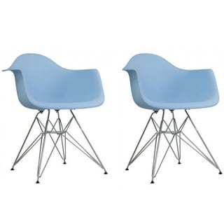 Contemporary Retro Molded Style Blue Accent Plastic Dining Armchair with Steel Eiffel Legs (Set of 2)