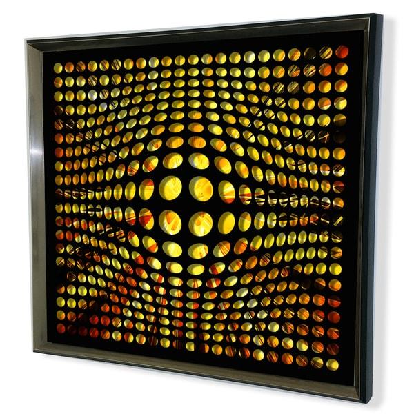 Designart Modern Black Tinted Mirror Yellow Shade Background Acrylic Vortex Mirror