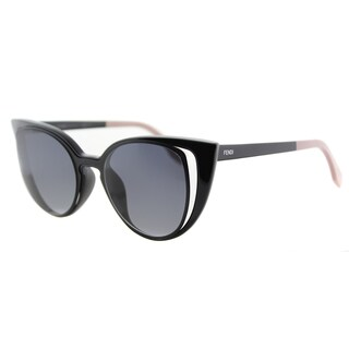 Fendi FF 0136 NY1 Matte Shiny Black Plastic/ Metal Grey Gradient Lens Sunglasses