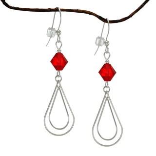 Jewelry by Dawn Red Crystal Double Teardrop Sterling Silver Earrings