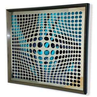 Designart Modern Acrylic Mirror Framed Vortex Art Mirror - Silver/Grey