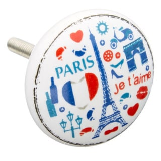 Paris Red/ White/ Blue Ceramic Drawer/ Door/ Cabinet Knobs (Pack of 6)