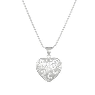 Jewelry by Dawn Puffed Heart Sterling Silver Snake Chain Necklace