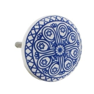 Blue Wheel Ceramic Drawer/ Door/ Cabinet Pull Knob (Pack of 6)
