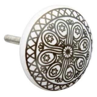 Black Wheel Flat Ceramic Drawer/ Door/ Cabinet Knob (Pack of 6)