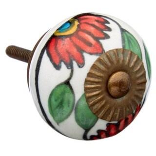 Red Flower Ceramic Drawer/ Door/ Cabinet Knob (Pack of 6)