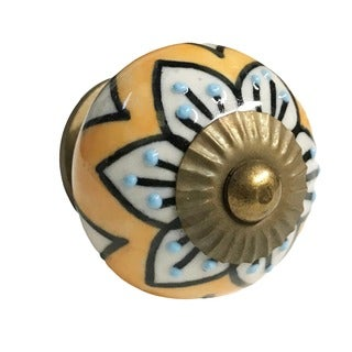 Mustard Flowers Ceramic Drawer/ Door/ Cabinet Knob (Pack of 6)