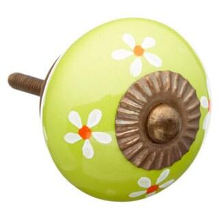 Lime Green Flowers Ceramic Drawer/ Door/ Cabinet Knob (Pack of 6)