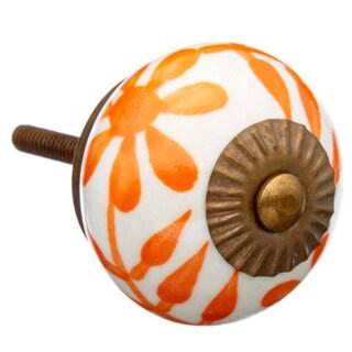 Orange Flower Ceramic Drawer/ Door/ Cabinet Knob (Pack of 6)
