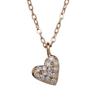 14k Rose Gold 1/10ct TDW Diamond Heart Necklace