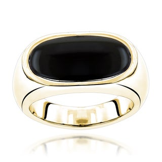 Luxurman 14k Gold Men's Black Onyx Ring