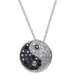 14k White Gold 1/5ct TDW Diamond Yin Yang Pendant