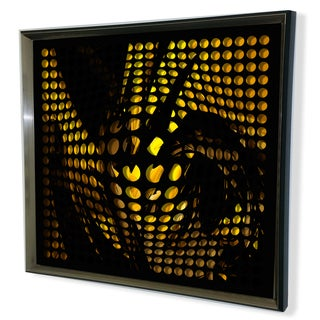 Designart Modern Black Tinted Mirror Black/ Yellow Background Acrylic Vortex Mirror