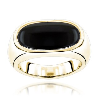 Luxurman 18k Gold Men's Black Onyx Ring