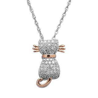Sterling Silver and 14k Rose Gold 1/5ct TDW Diamond Cat Pendant