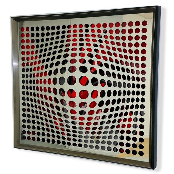 Designart Modern Acrylic Mirror Framed Vortex Art - Silver/Grey