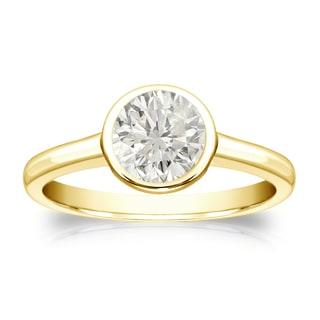 Auriya 18k Gold 3/4ct TDW Round Diamond Solitaire Bezel Engagement Ring (J-K, I1-I2)