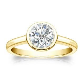 Auriya 18k Gold 1ct TDW Round-cut Diamond Solitaire Bezel Engagement Ring (I-J, SI1-SI2)