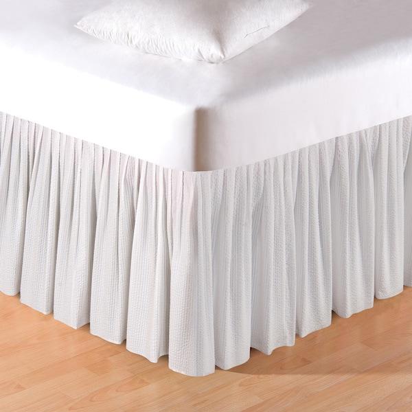 White 18-inch Seersucker Bed Skirt