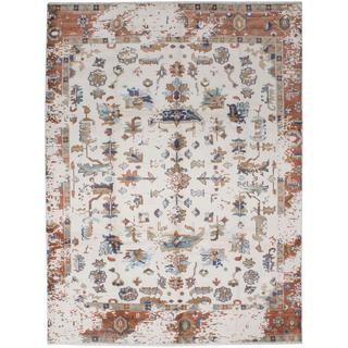 Ecarpetgallery Hand-knotted Jules Ushak Beige Art Silk Rug (8' x 10'1)