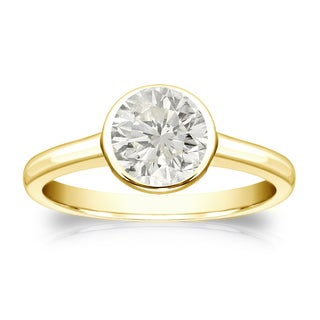 Auriya 18k Gold 1ct TDW Round-cut Diamond Solitaire Bezel Engagement Ring (J-K, I1-I2)