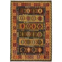 Ecarpetgallery Hand-made Sivas Brown/ Yellow Wool Kilim Rug (6'10 x 9'11)