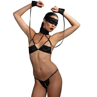 Black 4-Piece Lace Shelf Bra and G-string Set