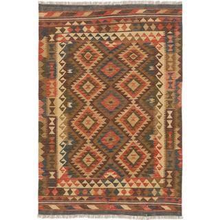 Ecarpetgallery Hand-made Hereke Kilim Brown Wool Kilim Rug (4'2 x 6'3)