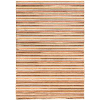 Ecarpetgallery Hand-knotted Luribaft Gabbeh Riz Beige/ Brown Wool Rug (3'11 x 5'9)