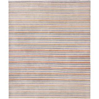 Ecarpetgallery Hand-knotted Luribaft Gabbeh Riz Brown/ Pink Wool Rug (8' x 9'10)