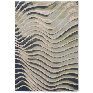 Ecarpetgallery Abstract Grey/ Green Rug (3'11 x 5'7)