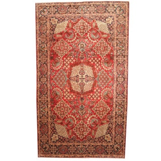 Herat Oriental Persian Hand-knotted 1960s Semi-antique Tabriz Wool Rug (9'5 x 16'4)