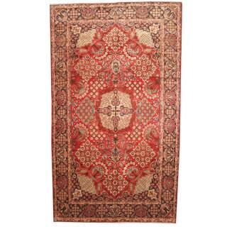 Herat Oriental Persian Hand-knotted 1960s Semi-antique Tabriz Wool Rug (9'5 x 16'4) - 9'5 x 16'4