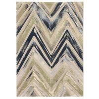 Ecarpetgallery Abstract Grey/ Green Rug (5'3 x 7'7) - 5'3 x 7'7