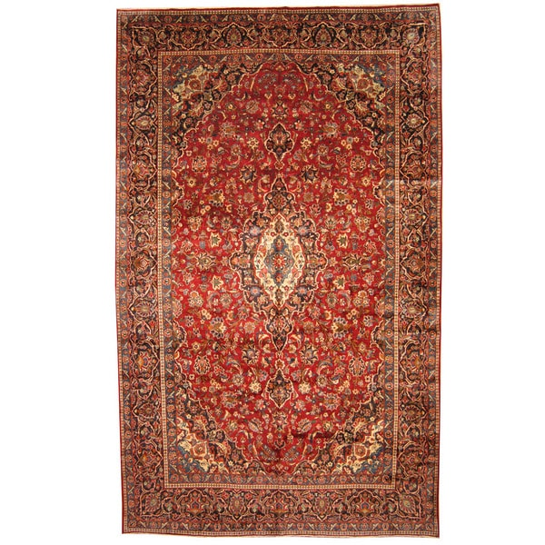 Herat Oriental Persian Hand-knotted 1960s Semi-antique Kashan Wool Rug (9'7 x 16') - 9'7 x 16'