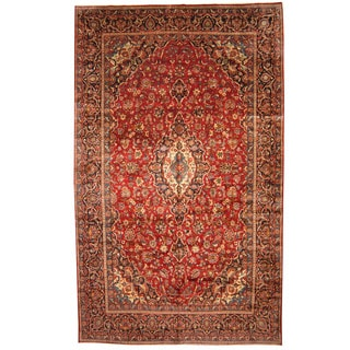 Herat Oriental Persian Hand-knotted 1960s Semi-antique Kashan Wool Rug (9'7 x 16')