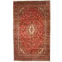 Handmade Herat Oriental Persian 1960s Semi-antique Kashan Wool Rug  - 9'7 x 16' (Iran)