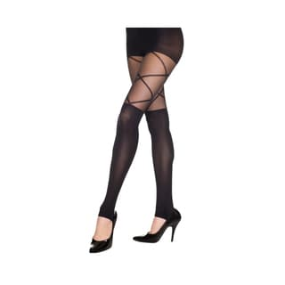 Music Legs Footless Leggings with Faux Thigh High and Cross Laces