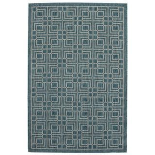 Ecarpetgallery Illusion Blue/ Grey Open Field Rug (4'11 x 7'7)