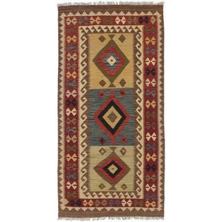 Ecarpetgallery Hand-woven Hereke Kilim Red/ Yellow Wool Kilim Rug (3'5 x 6'10)