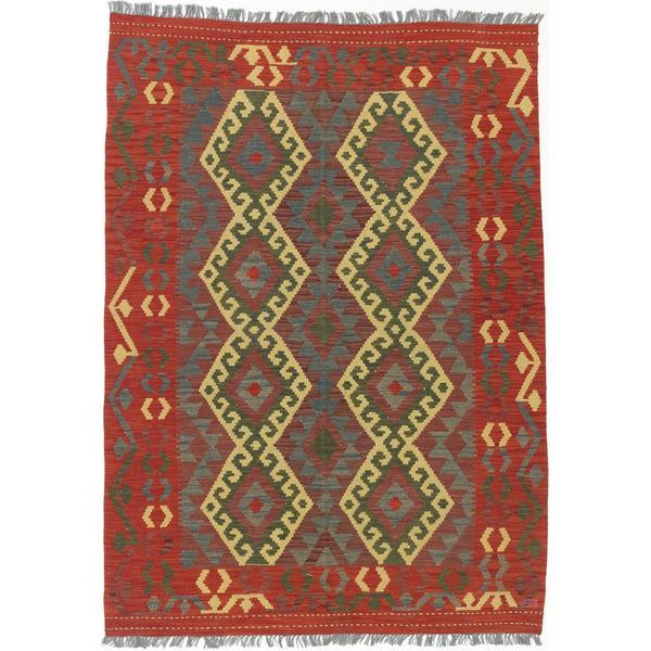Ecarpetgallery Hand-woven Anatolian Kilim Red/ Yellow Wool Kilim Rug - 4'9 x 6'10