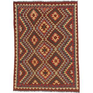 Ecarpetgallery Hand-woven Kashkoli Kilim Beige/ Red Wool Kilim Rug (4'8 x 6'7)