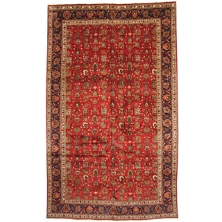 Herat Oriental Persian Hand-knotted 1960s Semi-antique Tabriz Wool Rug (9'6 x 16')