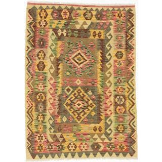 Ecarpetgallery Hand-woven Hereke Kilim Orange/ Red Wool Kilim Rug (3'7 x 5')
